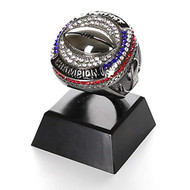 "Fantasy Football Champion Ring Trophy - Gunmetal / Black Chrome Finish - 4""  Tall"