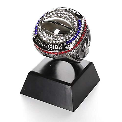 "Fantasy Football Champion Ring Trophy - Gunmetal / Black Chrome Finish | Engraved FFL Ring Award - 4"" Tall"