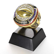 "Fantasy Football Champion Ring Trophy - Gold Finish - 4"" Tall"