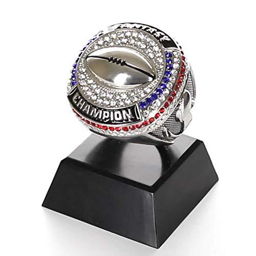 "Fantasy Football Champion Ring Trophy - Silver Finish | Engraved FFL Ring Award - 4 "" Tall"