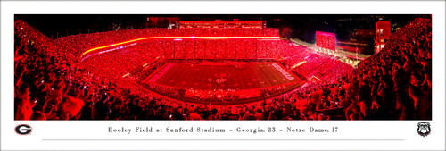 University of Georgia Bulldogs Panoramic Print #7 (Red Lights) - Unframed