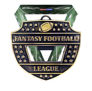 Fantasy Football League Medal and Bottle Opener - Gold | Engraved FFL Medallion with Football Themed V Neck Ribbon | 3 Inch Wide