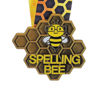 "Spelling Bee Honeycomb Medal - Gold, Silver or Bronze | Engraved Spelling B Medallion with Honeycomb Neckband - 3.25"" Wide"