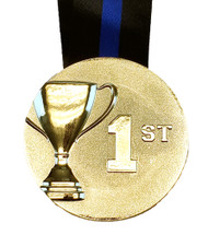 Place Cup Medal - Gold, Silver or Bronze | Engraved 3D Place Medallion with V Neck Ribbon - 3 Inch Wide