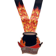 Chili Cook Off Medal with Flaming Neckband - Engraved Chili Pot Medallion in Gold, Silver or Bronze – 3.5 Inch