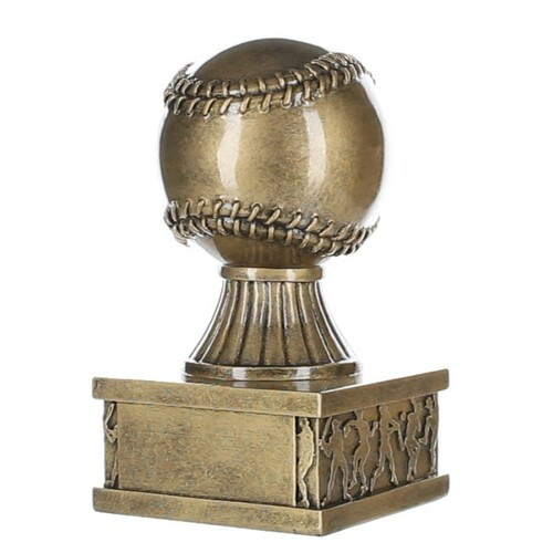 Baseball Action Pedestal Trophy | Engraved Gold Baseball Award - 6 Inch Tall