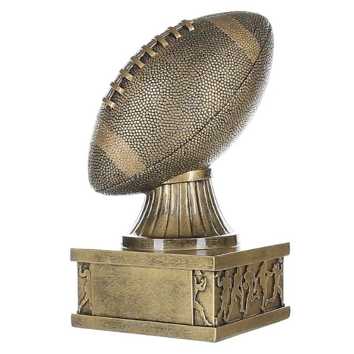 Football Action Pedestal Trophy   Engraved Gold Football Award - 7 Inch Tall