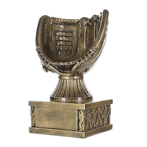 "Baseball Glove Action Pedestal Trophy | Gold Baseball Award- 6.5"""