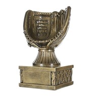 Baseball Glove Action Pedestal Trophy | Engraved Gold Baseball Award - 6.5 Inch Tall