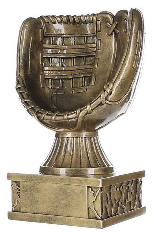 """Softball Glove Action Pedestal Trophy   Engraved Gold Slow Pitch Award- 8 Inch Tall 8"""""""