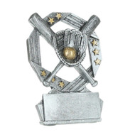 Baseball Hexa Star Trophy | Softball Award - Silver and Gold - 4.75""