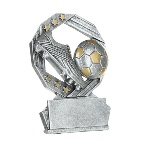 Soccer Hexa Star Trophy | Fútbol Award  - Silver and Gold - 4.75""