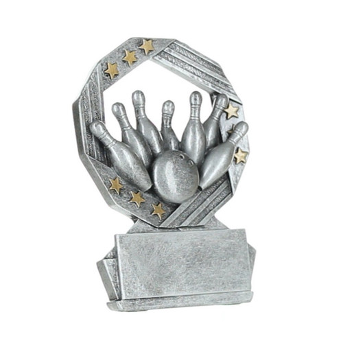 Bowling Hexa Star Trophy | Bowler Award - Silver and Gold - 4.75""