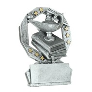Academic Hexa Star Trophy | Lamp of Knowledge Award - Silver and Gold - 4.75""