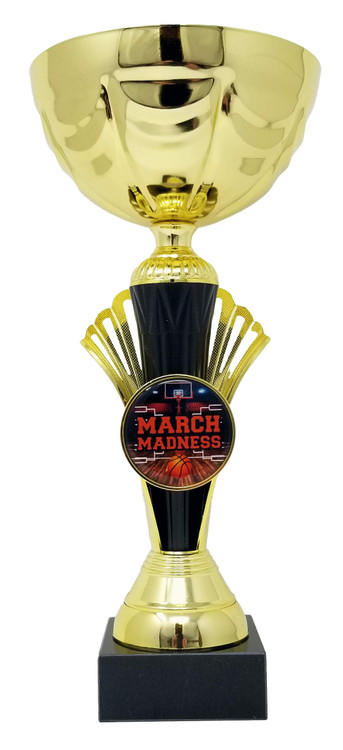 Basketball March Madness Cup Trophy, Gold - Basketball Gold Metal Cup Award - 12 Inch Tall