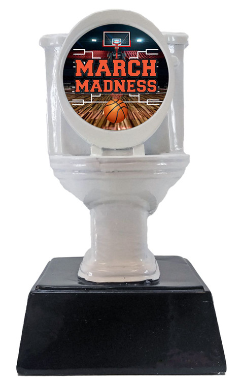 Basketball March Madness White Toilet Bowl Trophy | Busted Bracket Prize - 6 Inch Tall