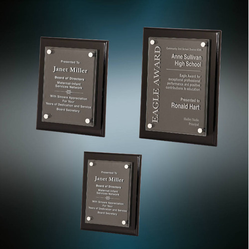 Floating Glass Plaque with Black Piano Finish - 3 sizes