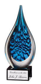 Art Glass Trophy - Blue Rain Drop | Artistic Corporate Award - 11""