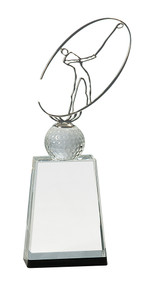 Golf Crystal with Silver Metal Oval Figure Trophy - 3 sizes