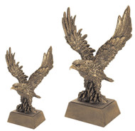 Eagle Mascot Gold Resin Trophy | Engraved Golden Eagle Award - 8 and 12 Inch Tall