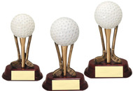 Golf Sculpted Club Trio with Golf Ball Trophy - 3 sizes