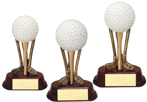 Golf Sculpted Club Trio with Golf Ball Trophy - 3 sizes