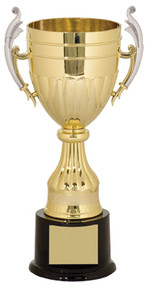 Cup Trophy with Scrolled handles - Gold | Engraved Love Cup Award - 11, 13, 14.75 & 16.75 Inch Tall