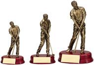 Golf Bronze Sculptured Trophy - Male 3 sizes
