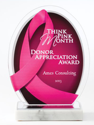 Pink Ribbon Awareness Acrylic Award - 8.5 Inch Tall