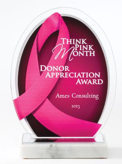 Pink Ribbon Awareness Acrylic Award - 8.5 Inch Tall