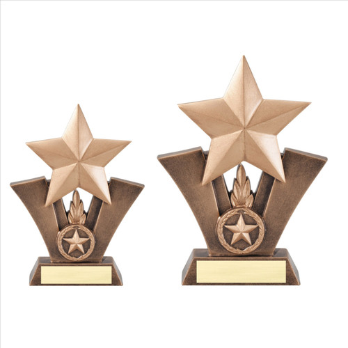 Star Victory Sculpture Trophy | Engraved Gold Star Award - 6 & 7.5 Inch Tall