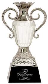 "Crystal Cup Award with Silver Handles | Love Cup Crystal Trophy - 9"" & 11"""