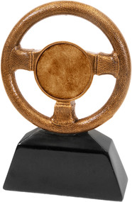 Steering Wheel Trophy - Antique Gold
