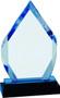 Diamond Impress Acrylic Award   Acrylic Rhombus Corporate Award - 8 Inch Tall - Blue