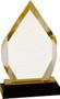 Diamond Impress Acrylic Award   Acrylic Rhombus Corporate Award - 8 Inch Tall - Gold