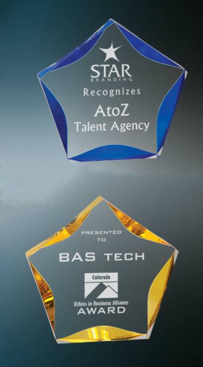 "Acrylic Star Corporate Award - 5"", 6"" & 7"" - Blue or Gold"