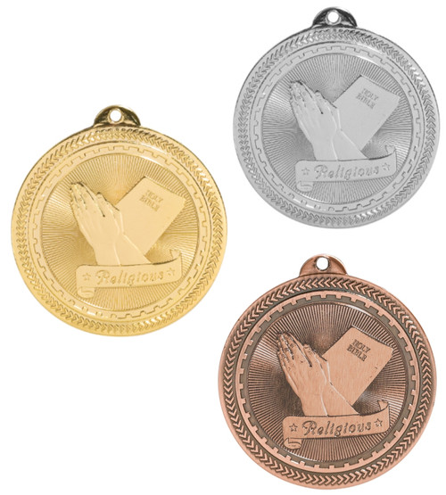 Religious BriteLazer Medal - Gold, Silver or Bronze | Engraved Sunday School Medallion | 2 Inch Wide - CLEARANCE