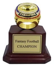Fantasy Football Champion Ring with Rosewood Finish Base - 5.5""