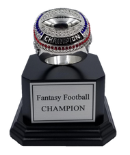 Fantasy Football Silver Champion Ring with Black Wood Base - 5.5""