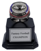 Fantasy Football Black Chrome / Gunmetal Champion Ring with Black Wood Base - 5.5""