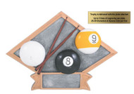 "Billiards / Pool Diamond Trophy - 6"" x 4.5"" - CLEARANCE"