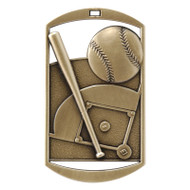 "Baseball Dog Tag Medal - Gold, Silver or Bronze | Engraved Softball Medal | 1.5"" x 2.75"""