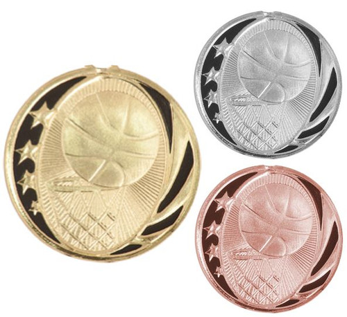Basketball MidNite Star Medal - Gold or Bronze | Engraved Basketball League Medallion | 2 Inch Wide - CLEARANCE