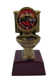 Chili Cook-Off Gold Toilet Bowl Trophy  | Engraved Golden Throne Chili Award - 6 Inch Tall