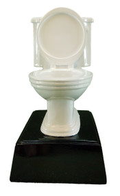 White Toilet Bowl Trophy | Engraved Plumber Award - 6 Inch Tall