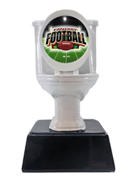 Fantasy Football White Toilet Bowl Trophy | Engraved FFL Toilet Award - 6 Inch Tall