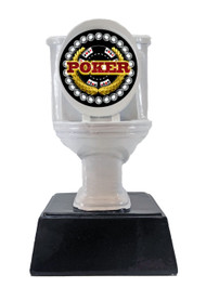 Poker White Toilet Bowl Trophy | Engraved Poker Tournament Last Place Award - 6 Inch Tall
