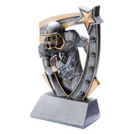 Football 3-D Star Resin Trophy | Engraved Football Award - 6 Inch Tall