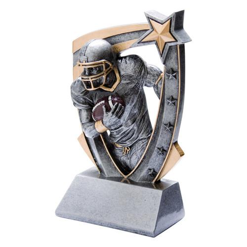 Football 3-D Star Resin Trophy | Engraved Football Award - 6 Inch Tall