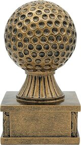 Golf Action Pedestal Trophy | Engraved Gold Golf Tournament Award - 6.5 Inch Tall - Front side